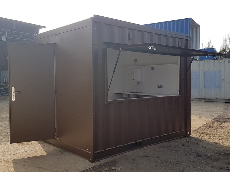 container coffee kiosk with serving hatch open