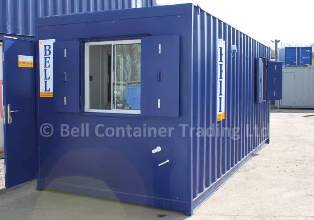 container windows with anti vandal steel shutters