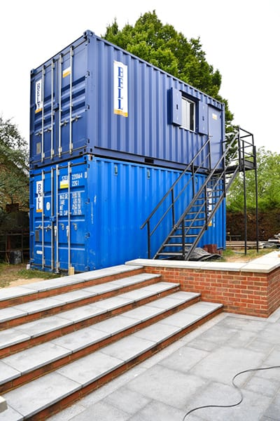 fixed stairs and landing for upper level container office access