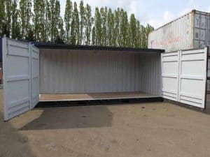 full side access shipping container doors open