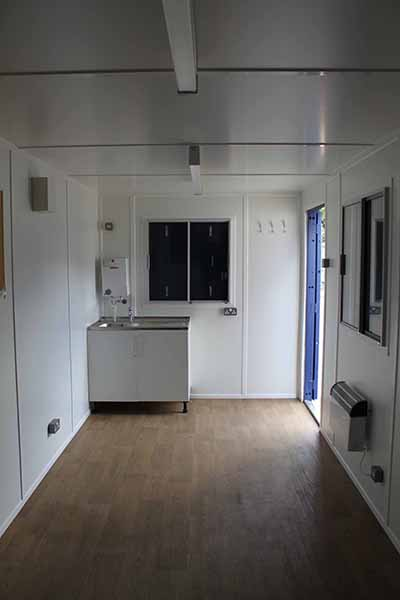 20ft open plan welfare office with sink