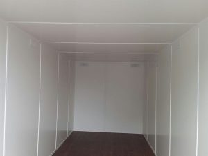 inside 20ft container conversion lined internal walls