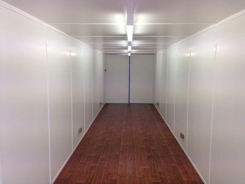 inside 40ft container with electrics and fully lined