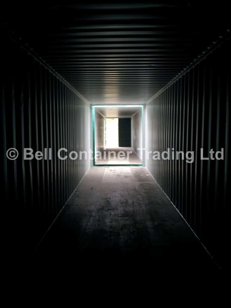 inside 40ft shipping container tunnel conversion