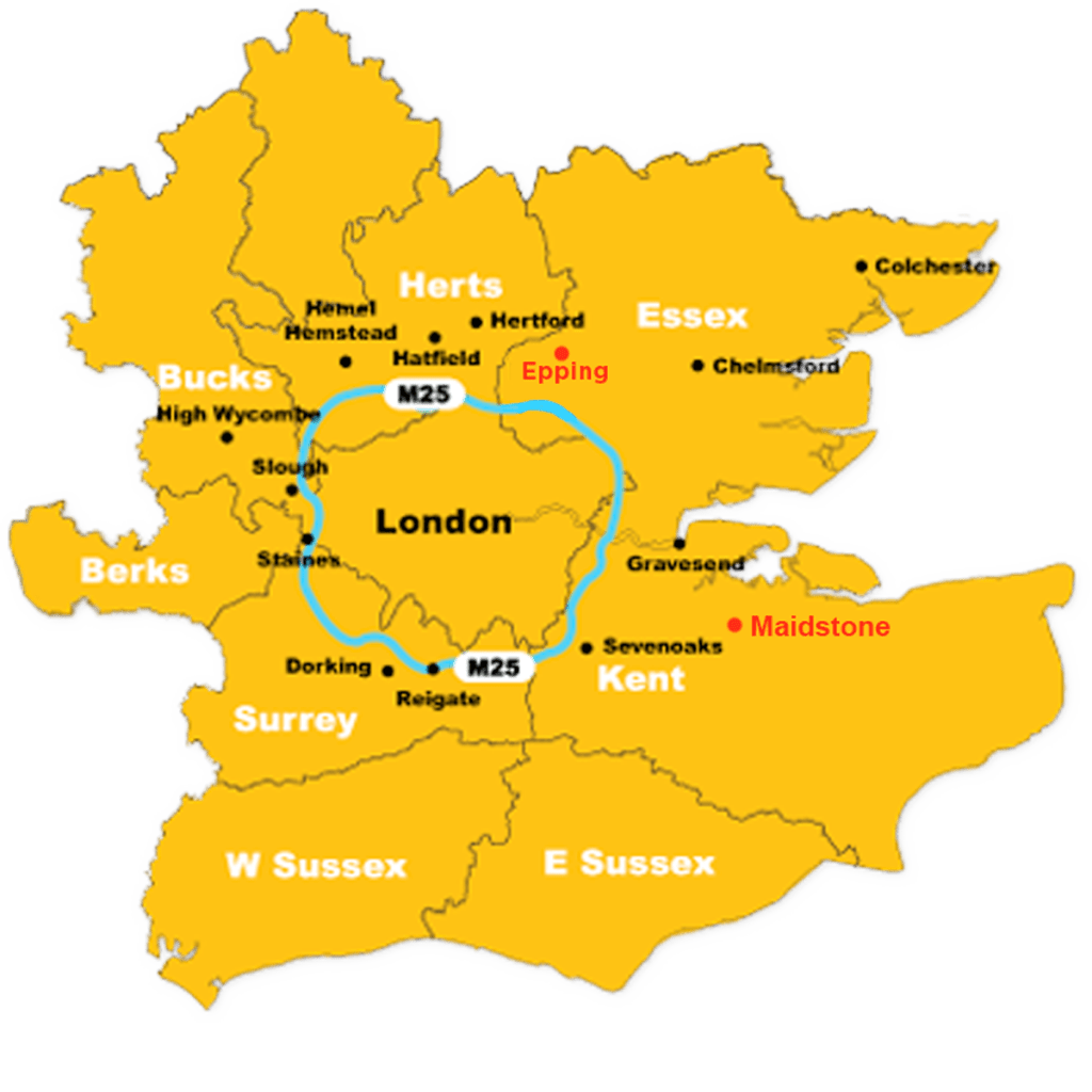 We cover Greater London, M25 and beyond