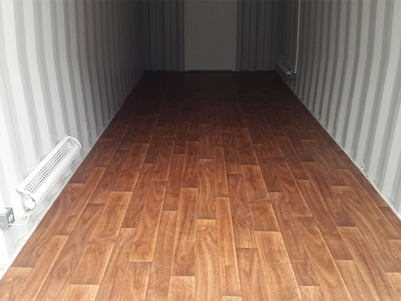 laminate style vinyl flooring inside container