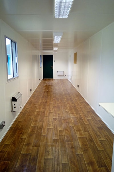 laminate style vinyl flooring inside shipping container