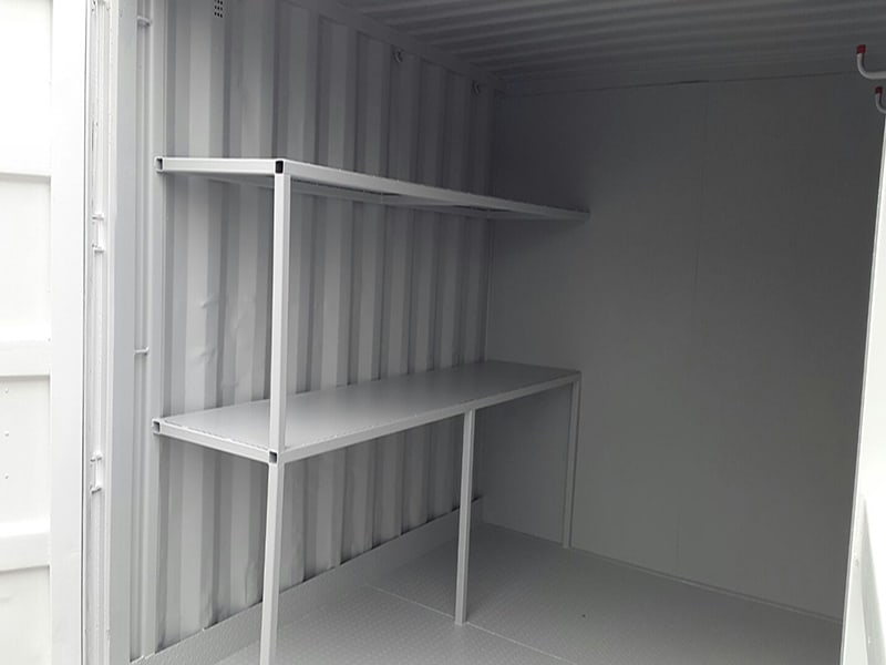 metal steel shelving units fitted into 10ft container