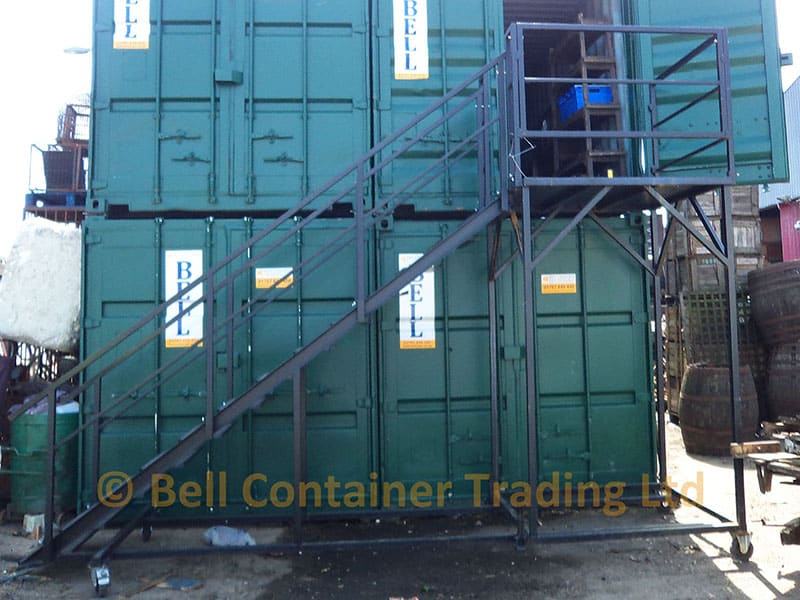 mobile container stairs landing staircase on wheels