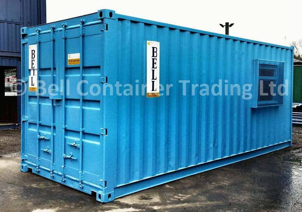 office container with wire mesh guards