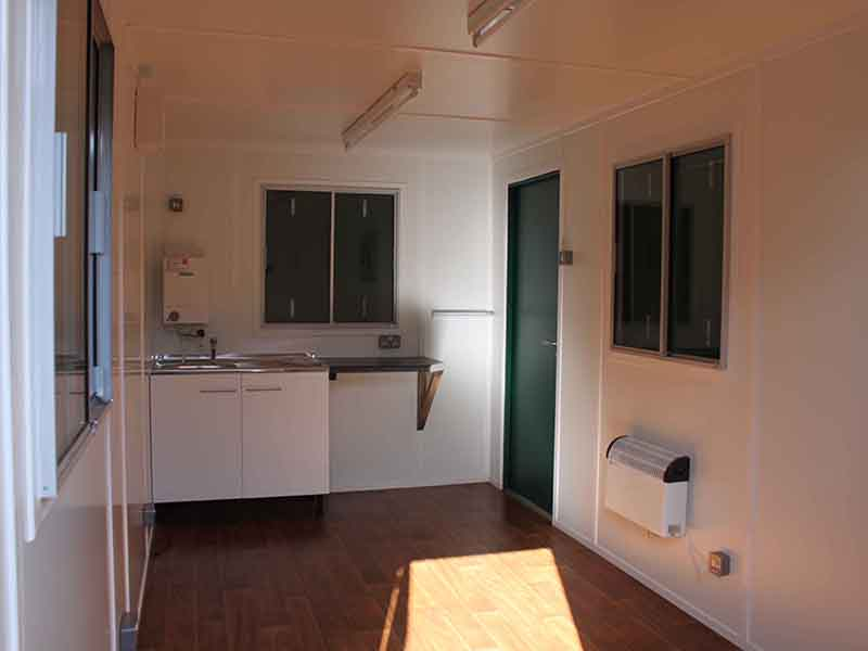 open plan office with sink unit