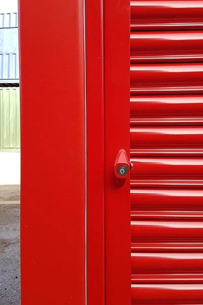 roller shutters manual opening powder coated red