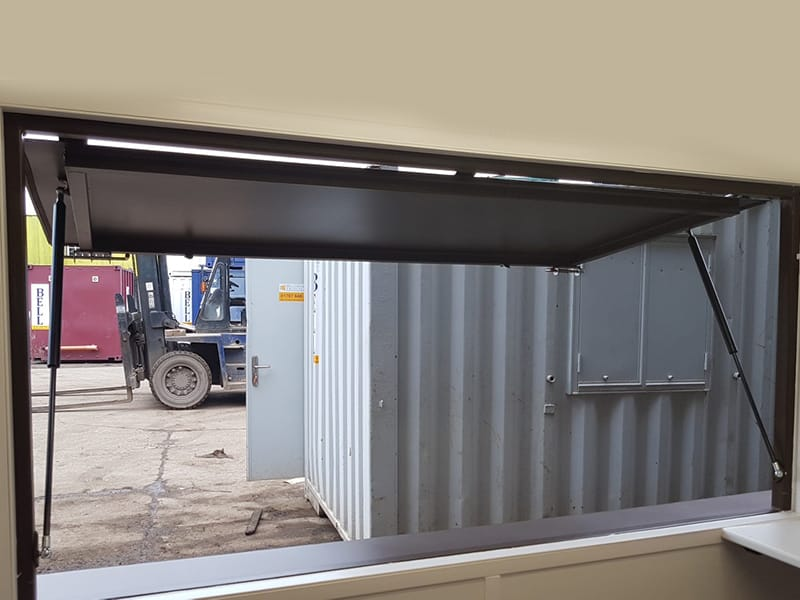 serving hatch on gas struts open fitted int container coffee shop