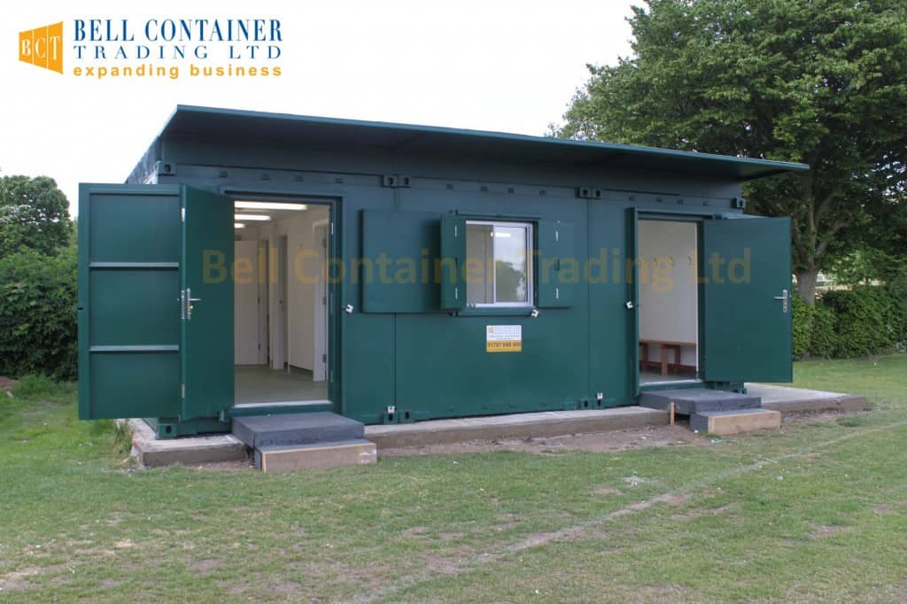 shipping container club house changing room cricket club