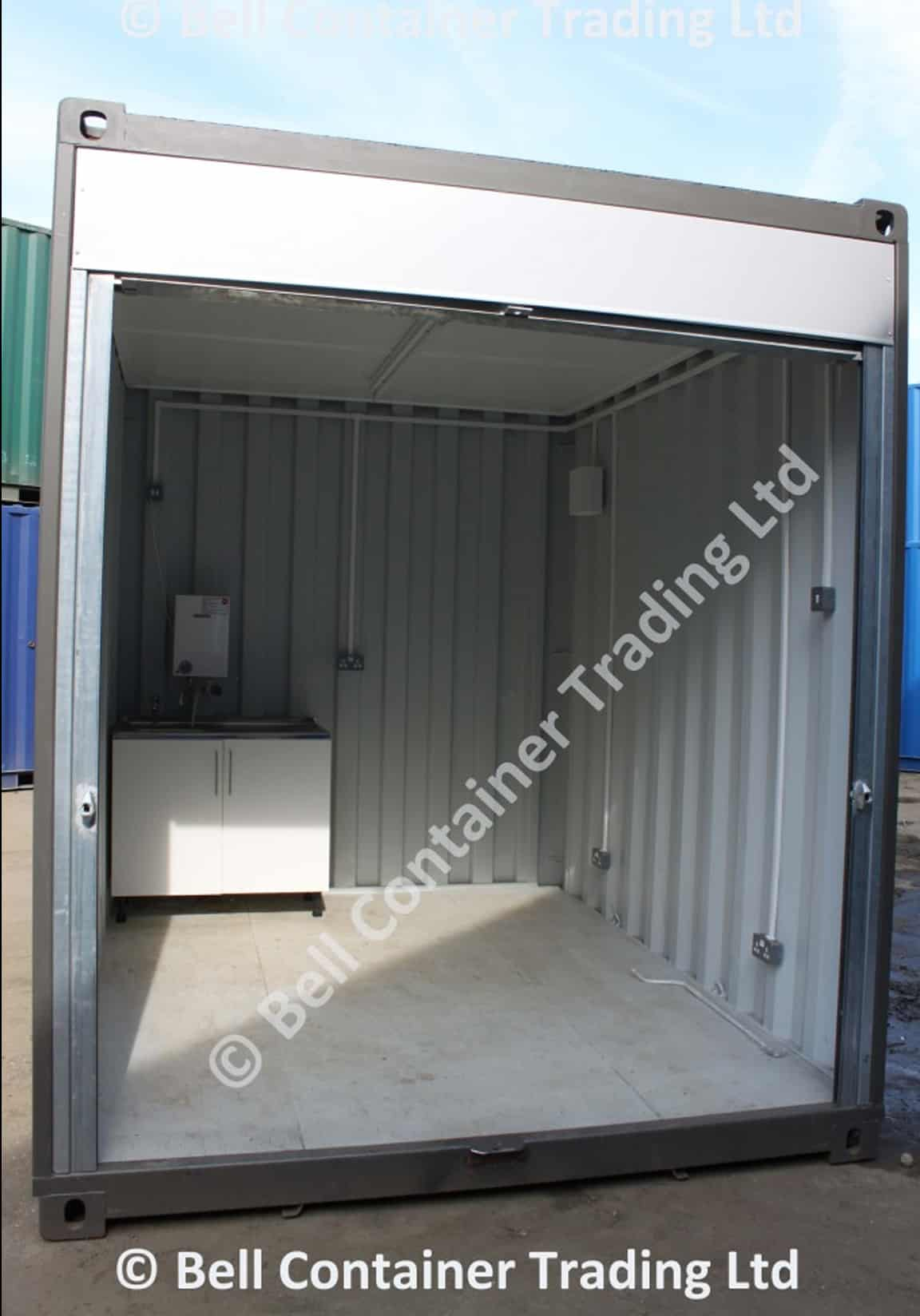 shipping container popup market stall interior