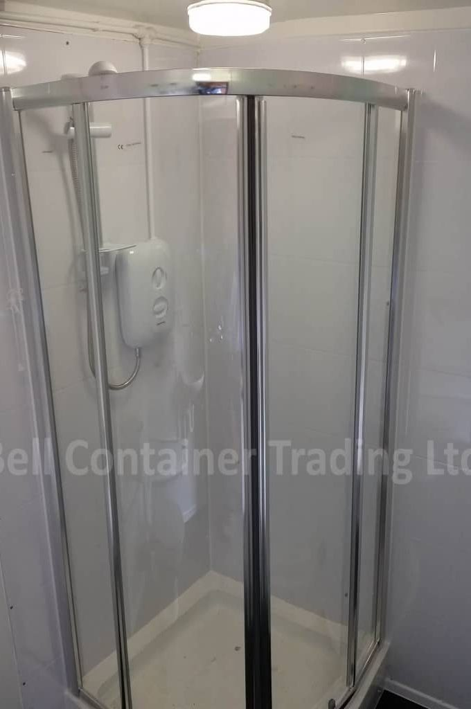 shipping container shower changing room conversion