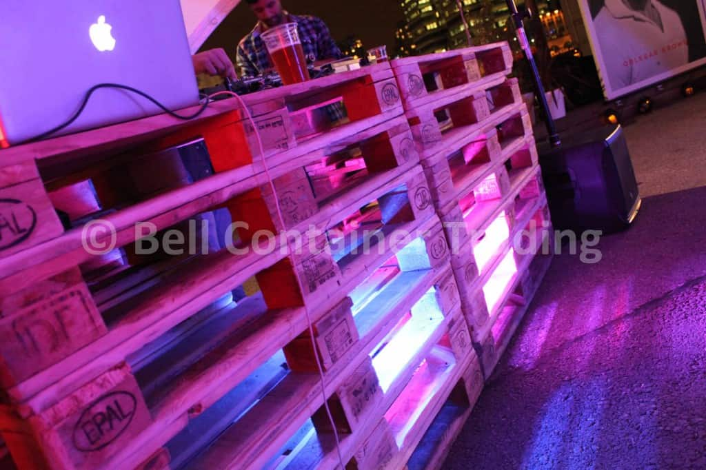 upcycled shipping container DJ deck from used pallets