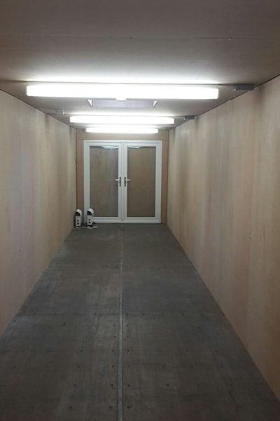 view from inside 40ft container with uPVC doors at 8 end