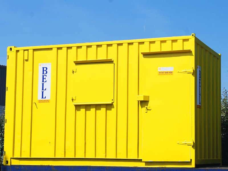 yellow14ft office container bespoke conversion