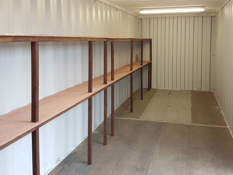 30 x 8 container with 2 tier racking and electrics