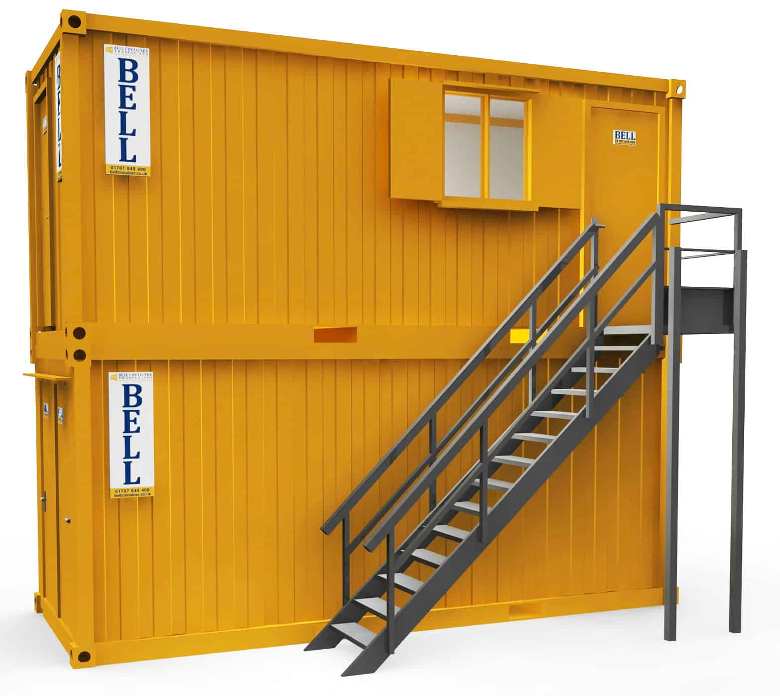 20ft canteen and 20ft office unit stacked on site hire fleet