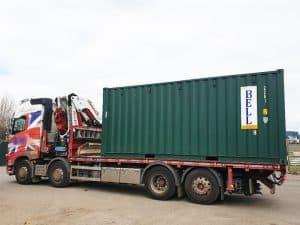 20ft container hi ab crane lorry London