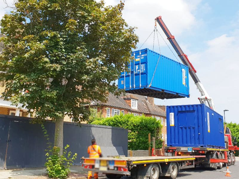 20ft office and 20ft container delivery London hi ab crane