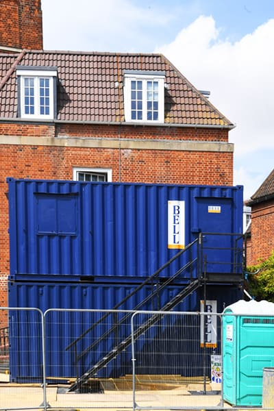 20ft storage container and welfare facility stacked on site Hertfordshire AL9