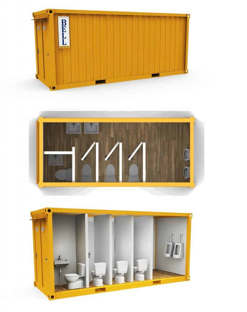 3+1 mains toilet block from London depot hire fleet