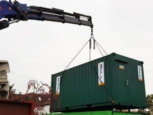 hi ab crane delivery 20ft office unit Hertfordshire