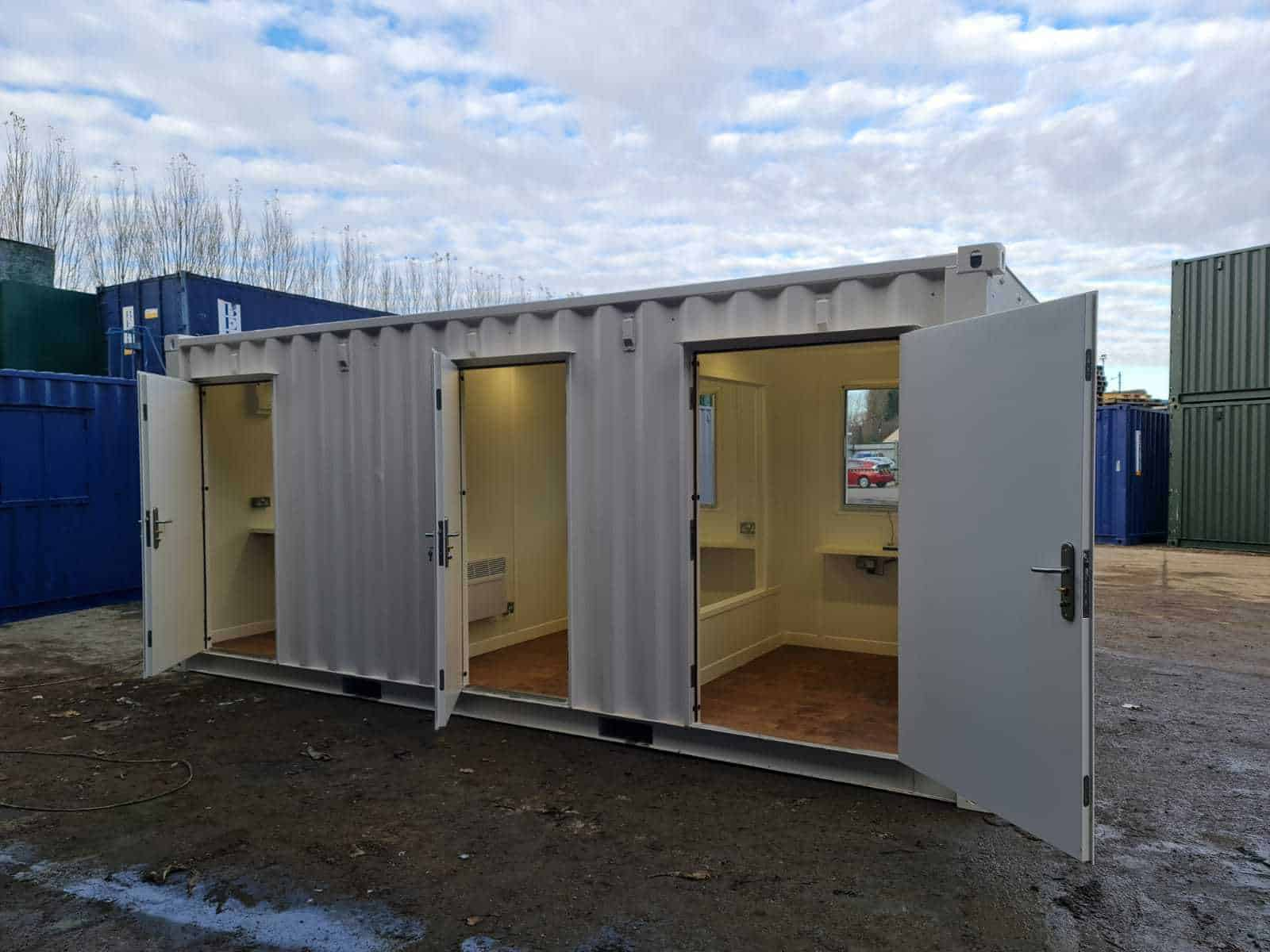 20 x 8 container care pod exterior for social distancing 1