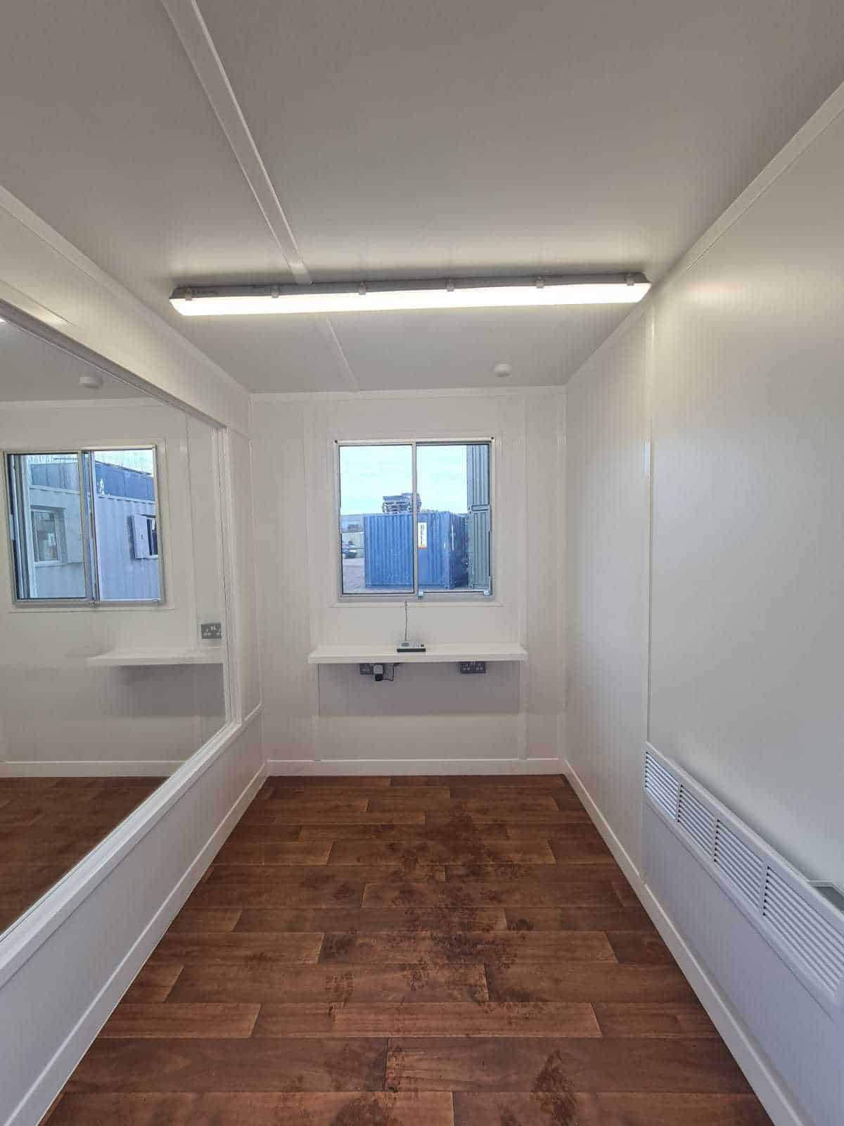 Inside 20ft container care pod for care homes